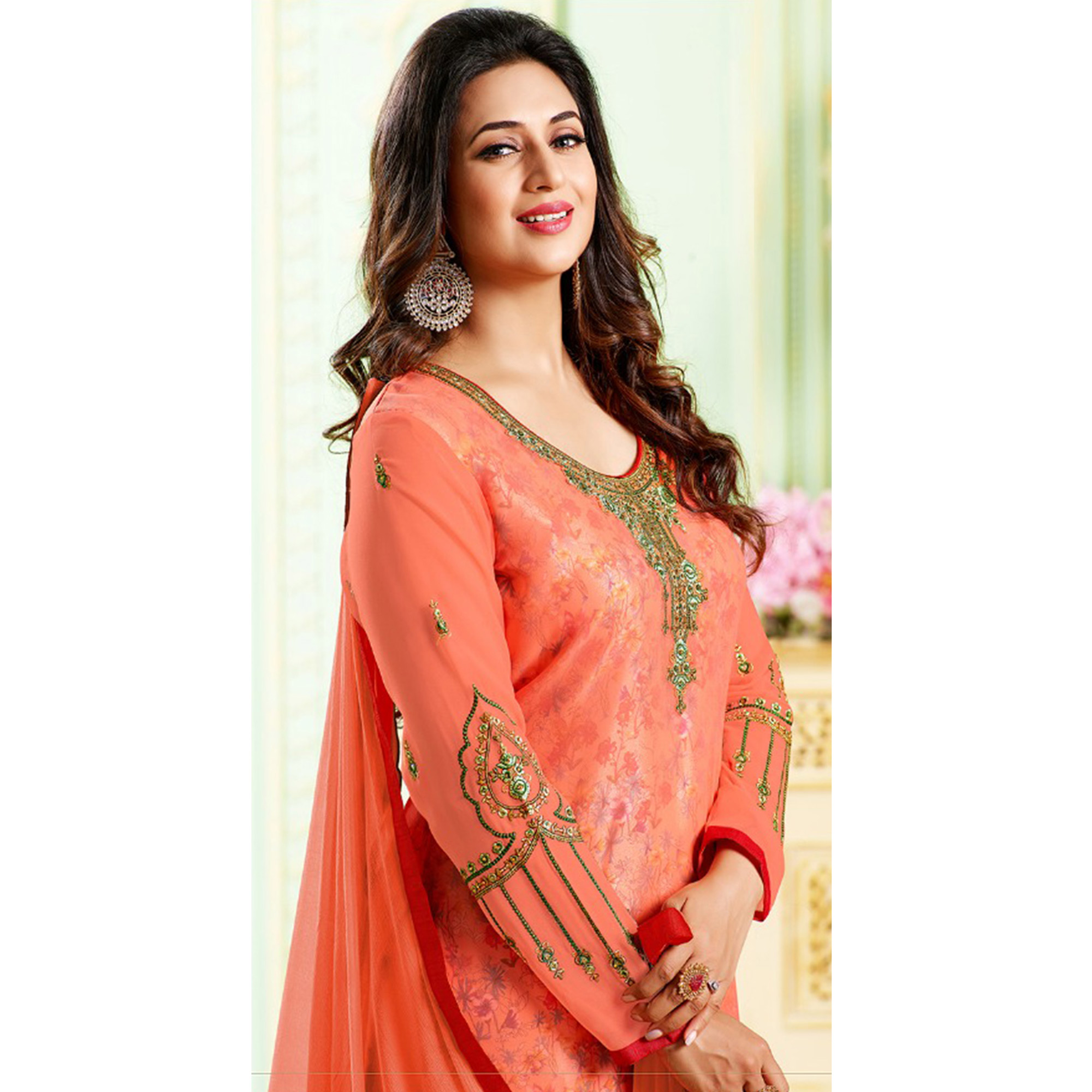Exotic Dark Peach Colored Party Wear Embroidered Georgette Suit