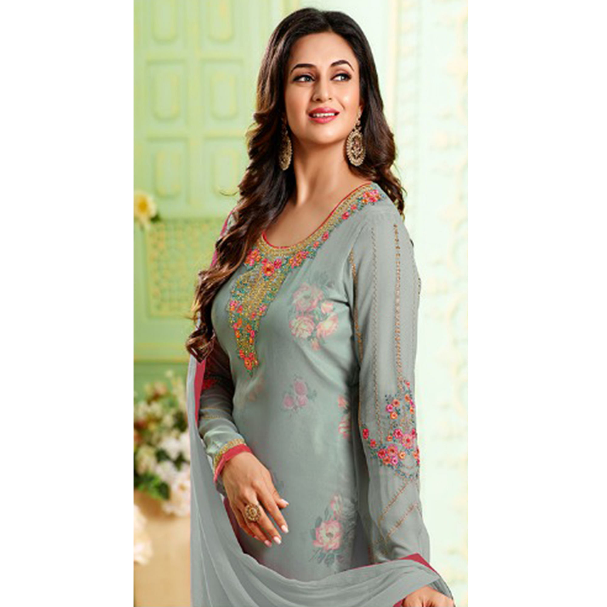 Majesty Grey Colored Party Wear Embroidered Georgette Suit