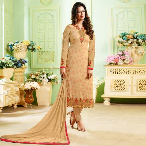 Attractive Beige Colored Party Wear Embroidered Georgette Suit