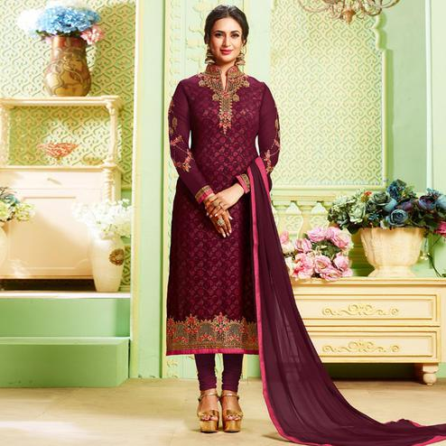 Glowing Wine Colored Party Wear Embroidered Georgette Suit