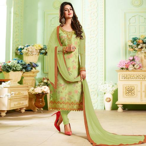 Hypnotic Pastel Green Colored Party Wear Embroidered Georgette Suit