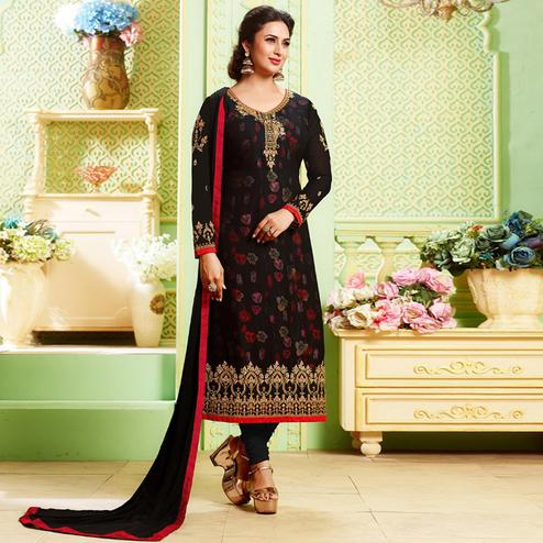 Trendy Black Colored Party Wear Embroidered Georgette Suit