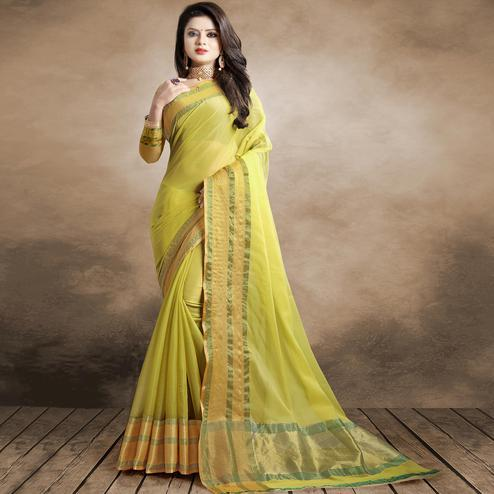 Appealing Lemon Green Colored Festive Wear Organza Silk Saree