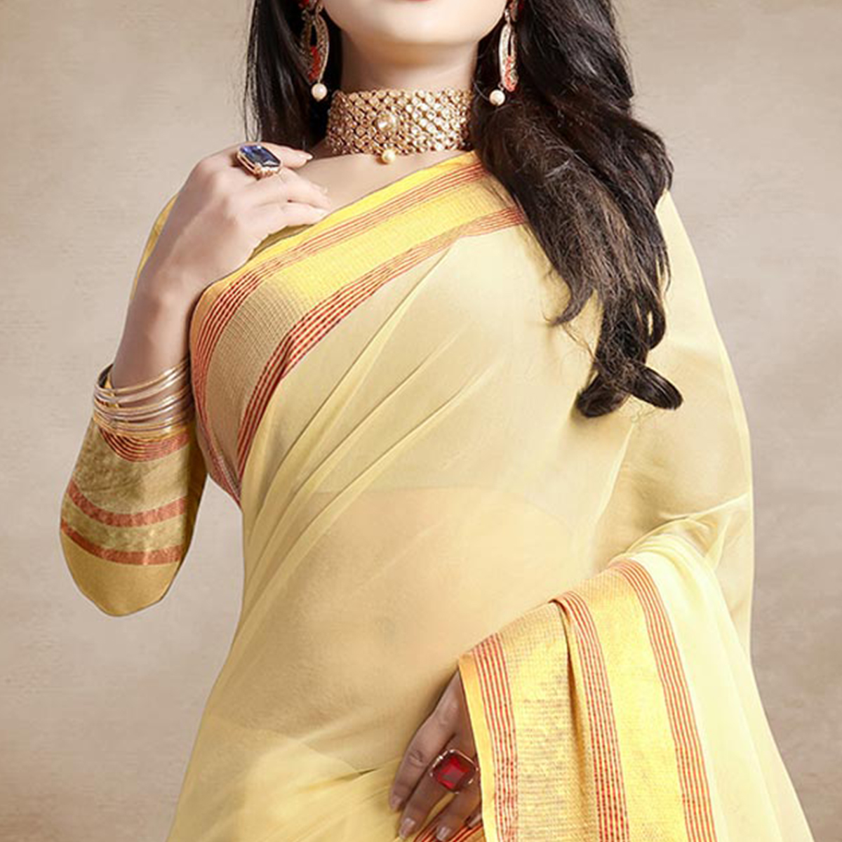 Adorable Cream Colored Festive Wear Organza Silk Saree