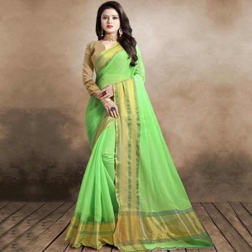 Irresistible Pista Green Colored Festive Wear Organza Silk Saree