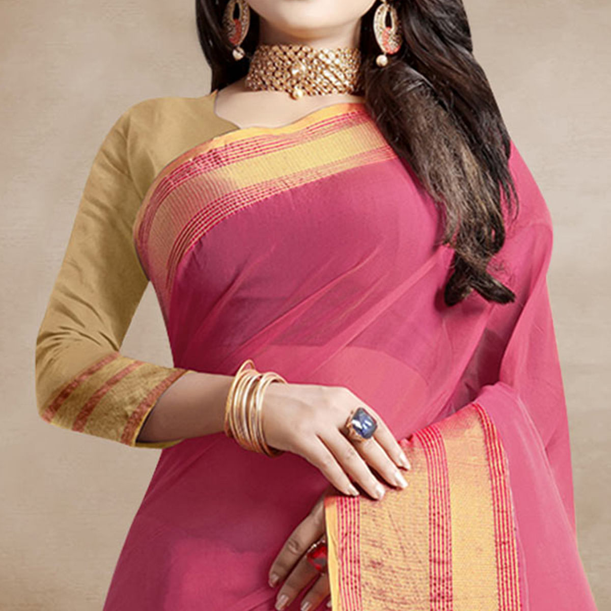Marvellous Pink Colored Festive Wear Organza Silk Saree