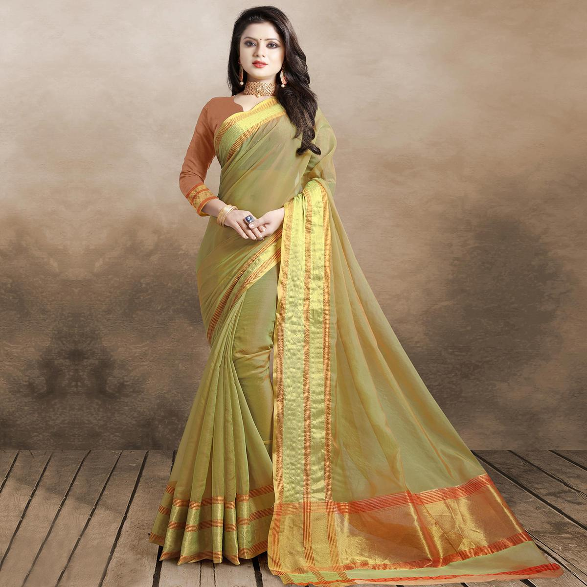 Beautiful Light Olive Green Colored Festive Wear Organza Silk Saree