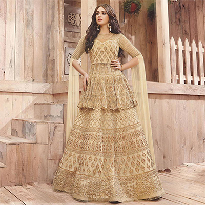 Gorgeous Golden-Cream Coloured Designer Lehenga Cum Sharara Dress