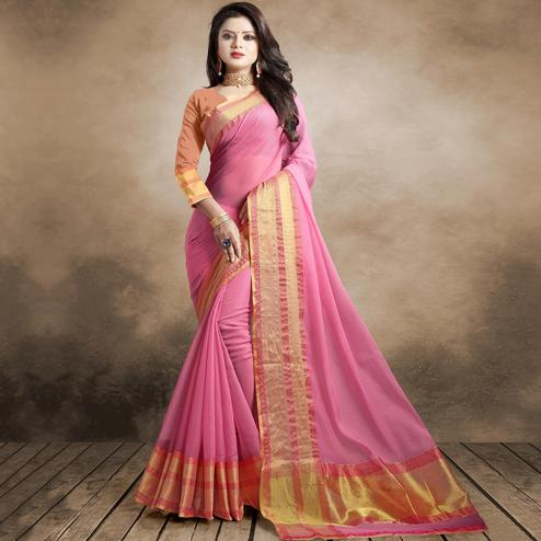 Pretty Pink Colored Festive Wear Organza Silk Saree