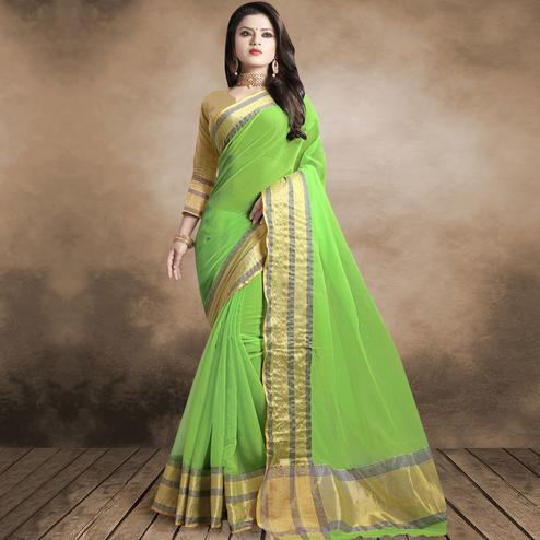 Amazing Green Colored Festive Wear Organza Silk Saree