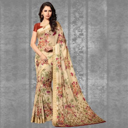 Lovely Cream Colored Casual Printed Chiffon Saree