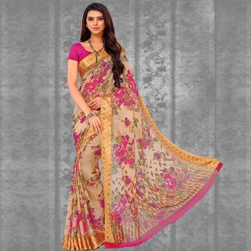 Pretty Peach Colored Casual Printed Chiffon Saree