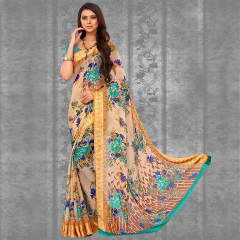 Charming Cream Colored Casual Printed Chiffon Saree