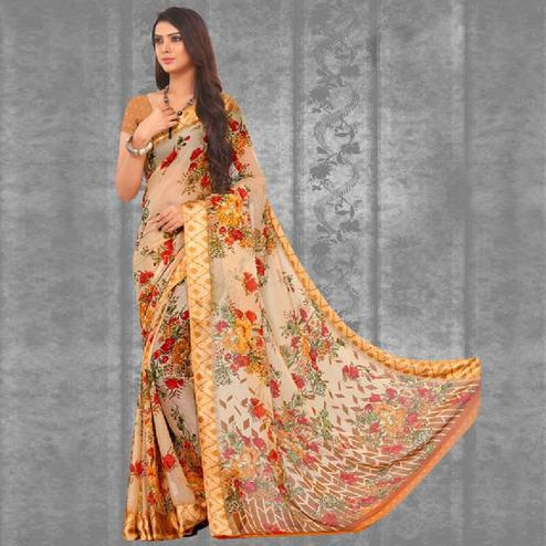 Ravishing Cream-Orange Colored Casual Printed Chiffon Saree