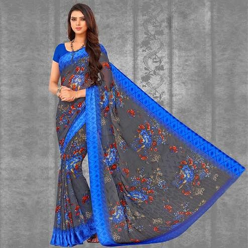 Delightful Grey Colored Casual Printed Chiffon Saree