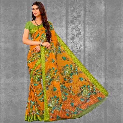 Stunning Mustard Yellow Colored Casual Printed Chiffon Saree