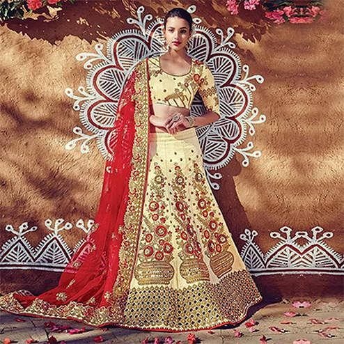 Beautiful Beige-Red Designer Embroidered Phantam Silk Lehenga Choli