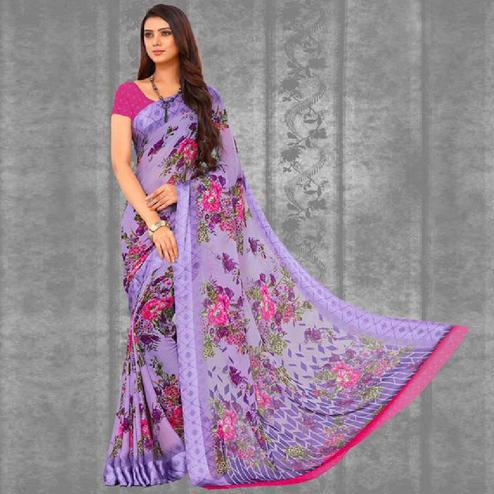 Glorious Lavender Colored Casual Printed Chiffon Saree