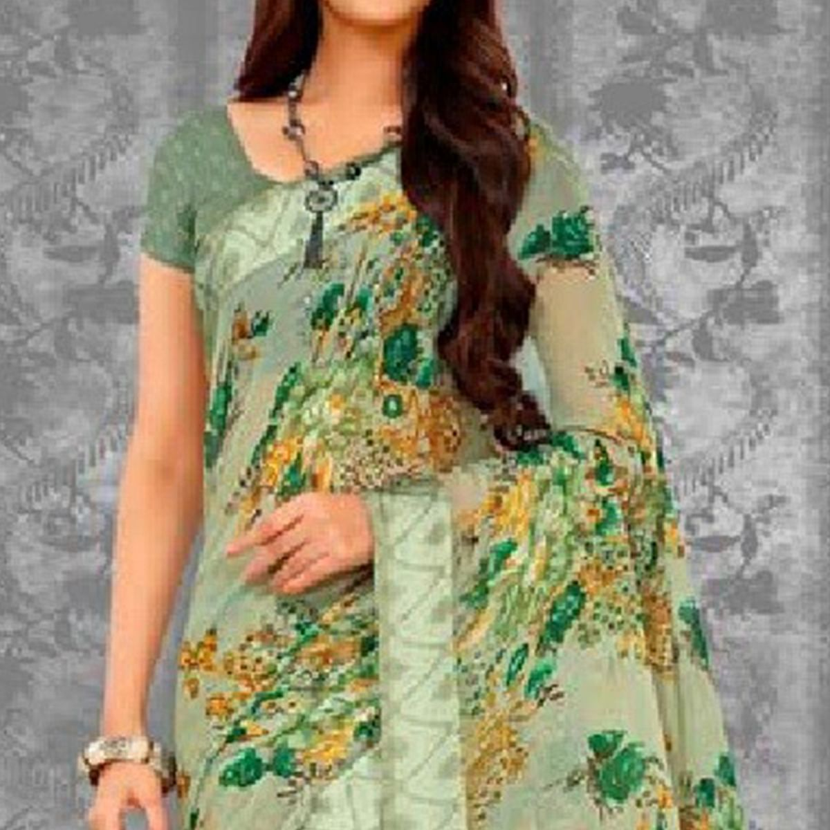 Graceful Green Colored Casual Printed Chiffon Saree
