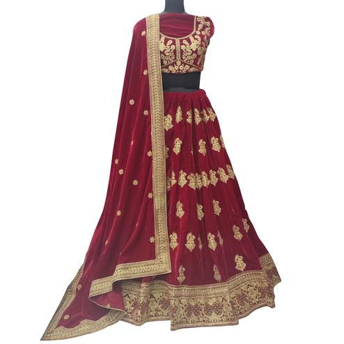 Appealing Maroon Colored Wedding Wear Embroidered Velvet Lehenga Choli