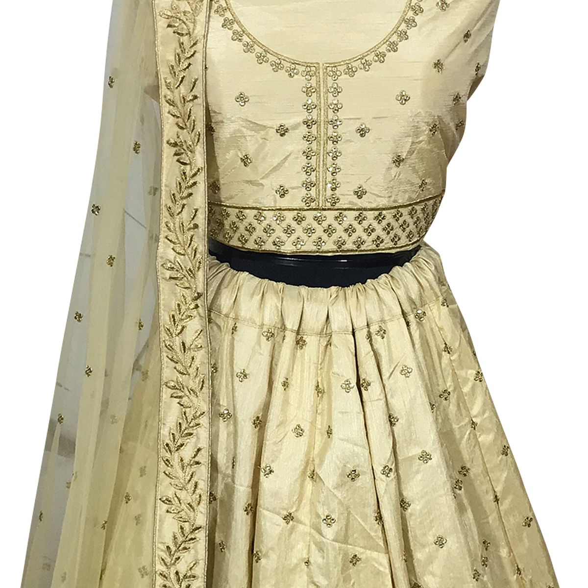 Groovy Cream Colored Wedding Wear Embroidered Silk Lehenga Choli