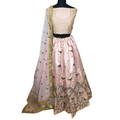 Prominent Baby Pink Colored Wedding Wear Embroidered Mulberry Silk Lehenga Choli