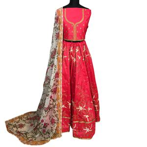 Capricious Pink Colored Wedding Wear Embroidered Mulberry Silk Lehenga Choli