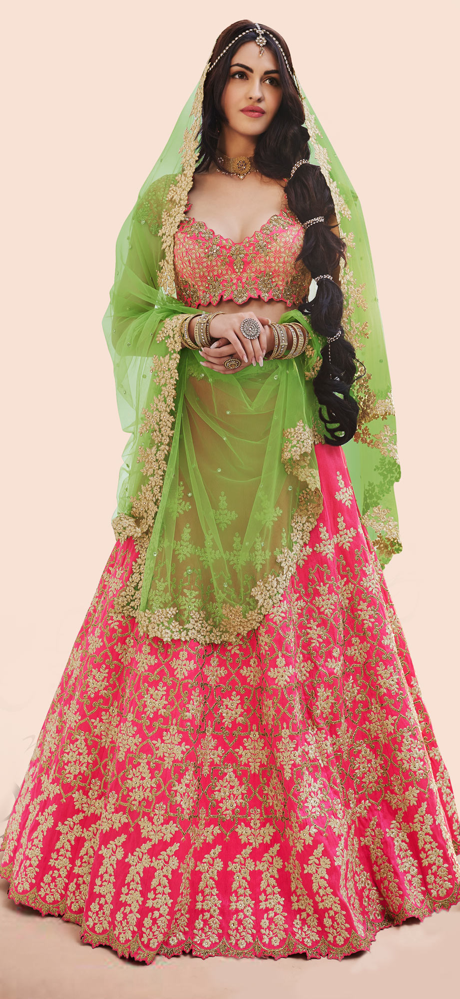 Sizzling Pink-Green Designer Embroidered Phantam Silk Lehenga Choli