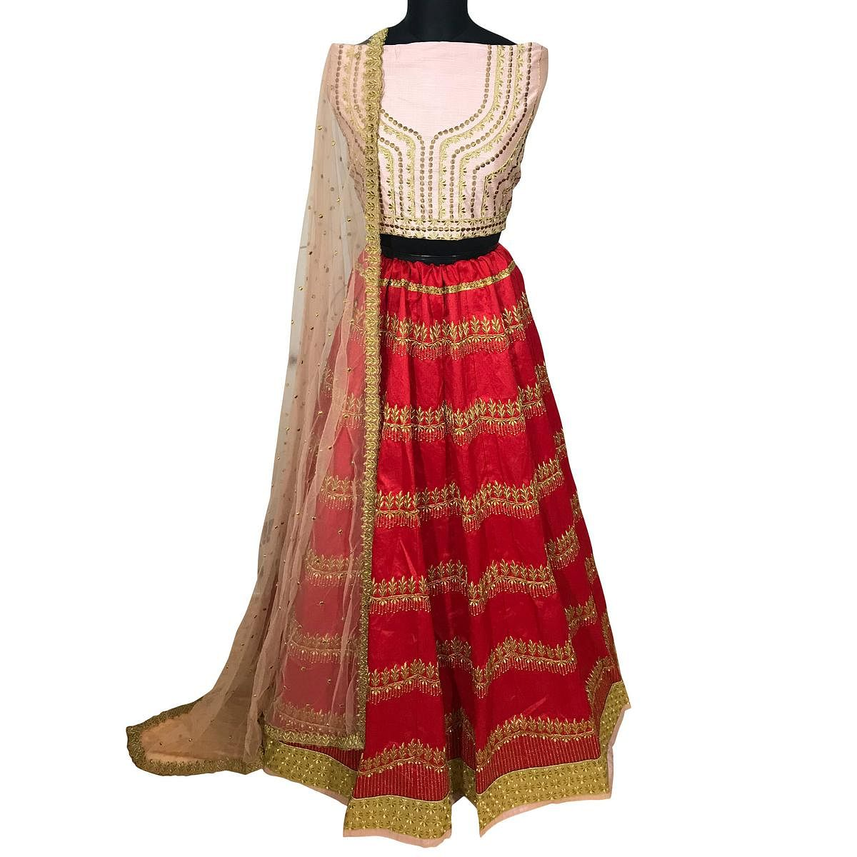 Adorning Red Colored Wedding Wear Embroidered Mulberry Silk Lehenga Choli