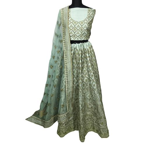 Captivating Mint Green Colored Wedding Wear Embroidered Mulberry Silk Lehenga Choli