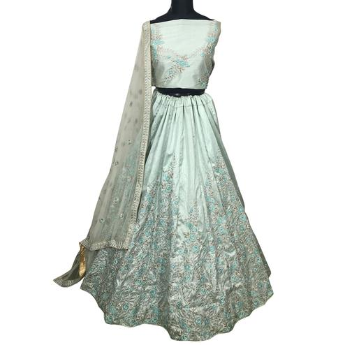 Flirty Light Aqua Blue Colored Wedding Wear Embroidered Mulberry Silk Lehenga Choli