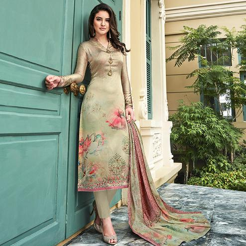 Eye-Catching Beige Colored Digital Printed Partywear Satin Suit