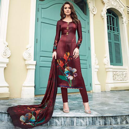 Trendy Maroon Colored Digital Printed Partywear Satin Suit