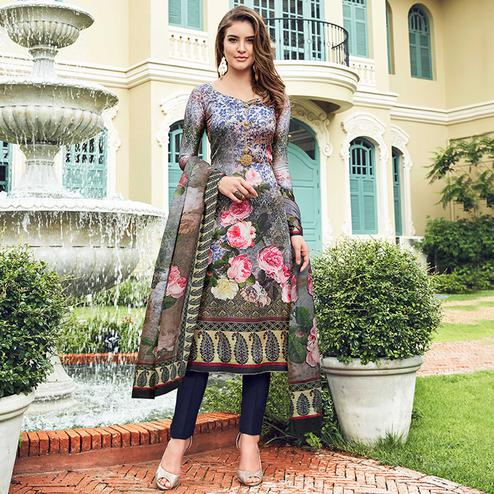 Demanding Gray Colored Digital Printed Partywear Satin Suit