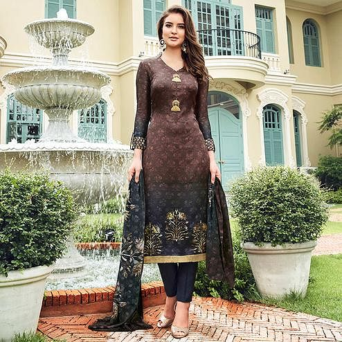 Desiring Brown Colored Digital Printed Partywear Satin Suit