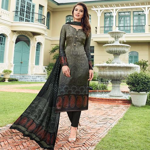 Blooming Dark Gray Colored Digital Printed Partywear Satin Suit