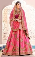 Elegant Pink Designer Embroidered Phantam Silk Lehenga Choli