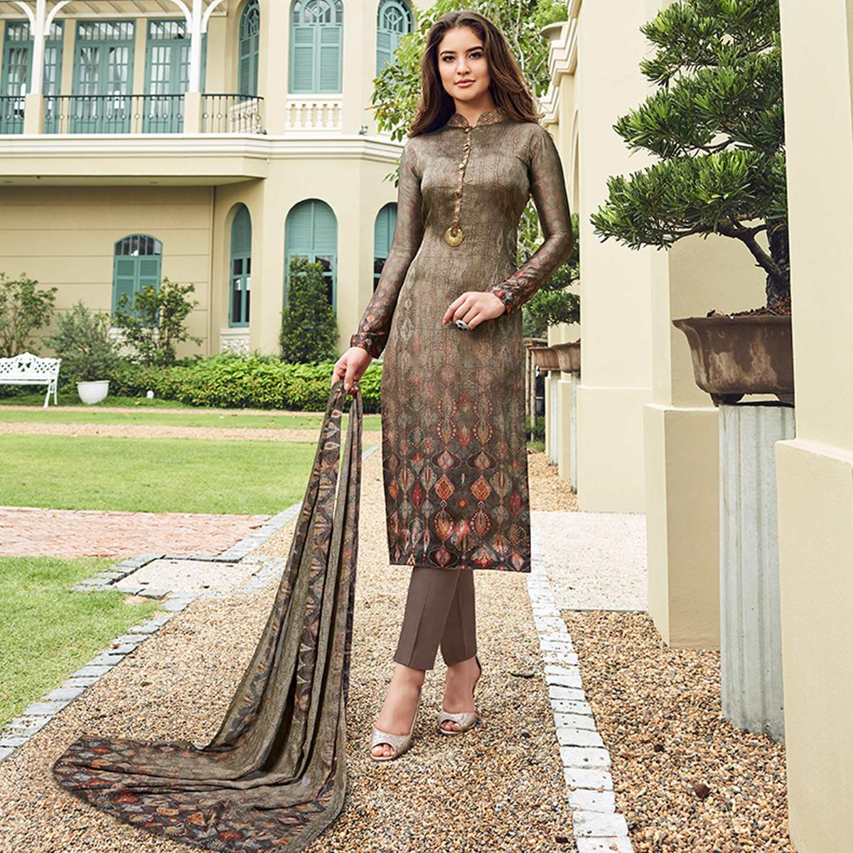 Gorgeous Gray Colored Digital Printed Partywear Satin Suit