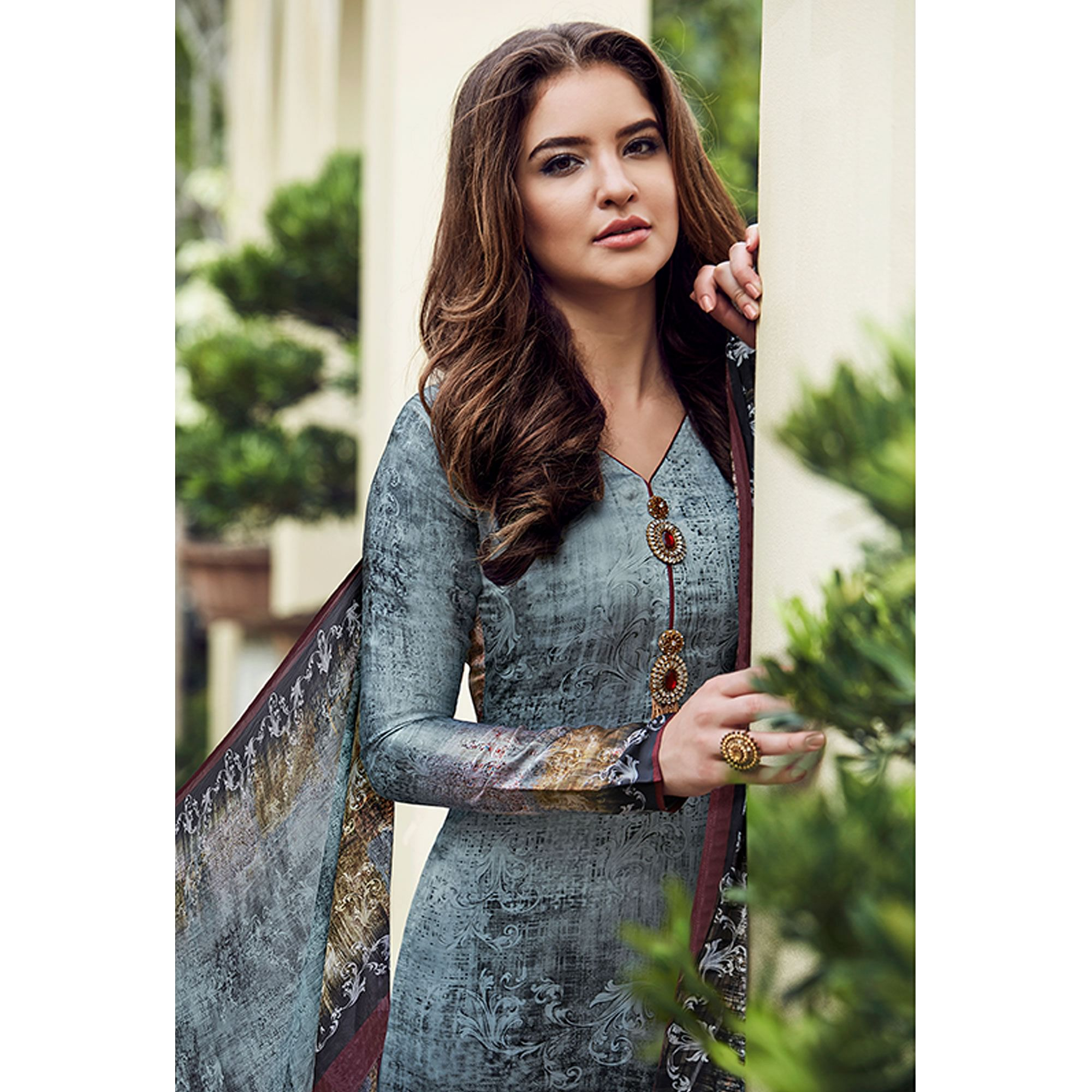 Amazing Sky Blue Colored Digital Printed Partywear Satin Suit