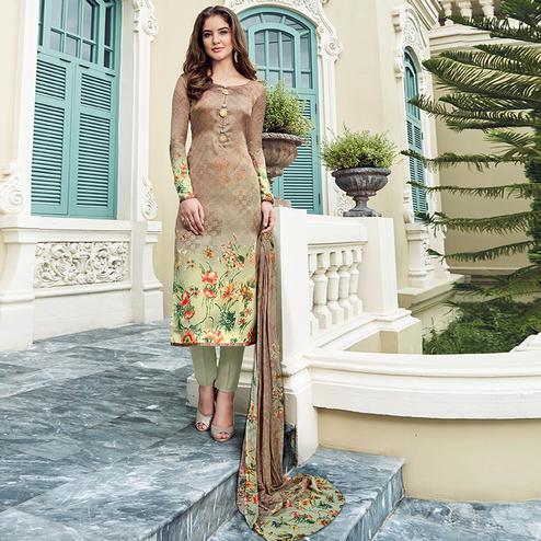 Glorious Multi Colored Digital Printed Partywear Satin Suit