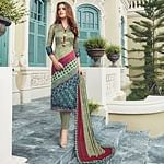 Stunning Light Green Colored Digital Printed Partywear Satin Suit