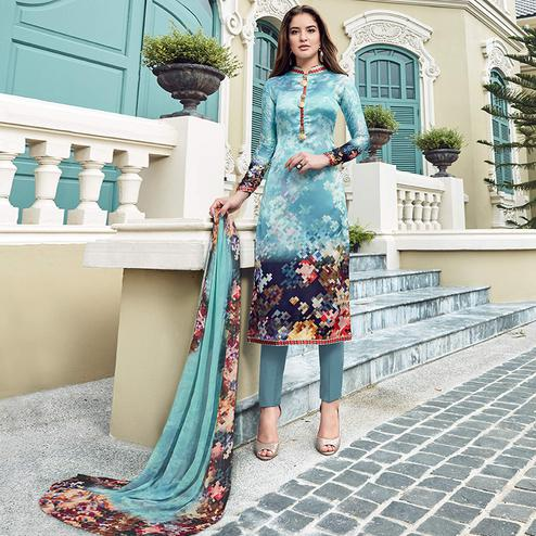 Refreshing Sky Blue Colored Digital Printed Partywear Satin Suit