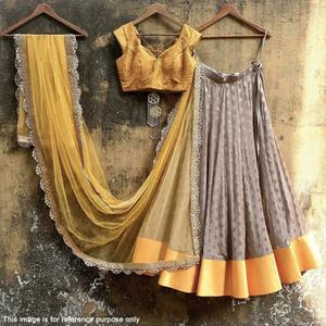 Stunning Gray-Yellow Colored Partywear Satin Lehenga Choli