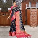 Adorable Navy Blue Colored Festive Wear Woven Work Soft Silk Saree