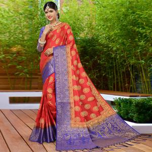Refreshing Red Colored Festive Wear Woven Work Soft Silk Saree