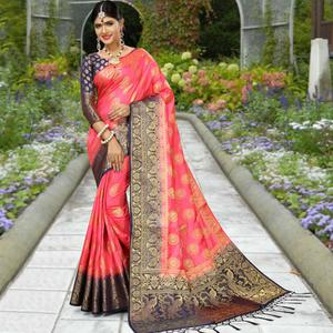 Elegant Pink Colored Festive Wear Woven Work Soft Silk Saree