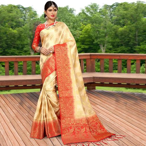 Alluring Cream Colored Festive Wear Woven Work Soft Silk Saree
