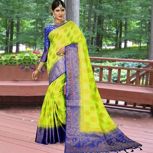Sensational Parrot Green Colored Festive Wear Woven Work Soft Silk Saree