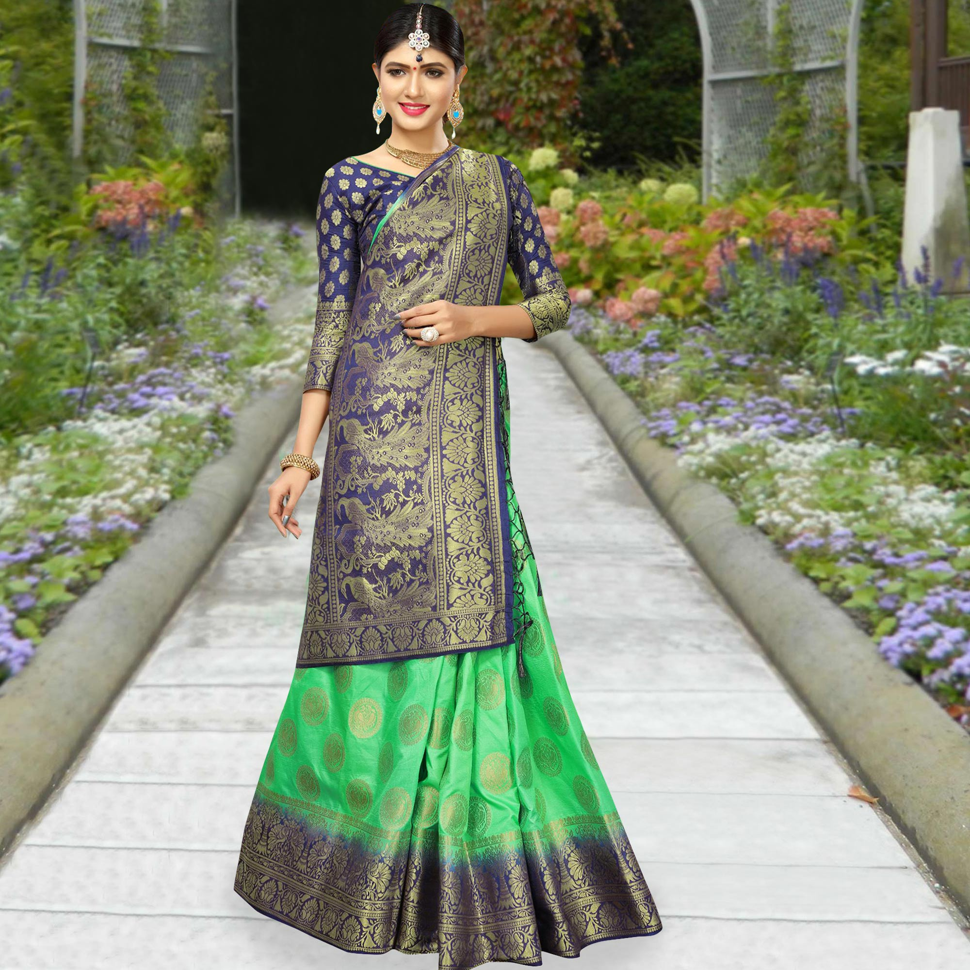 Opulent Green Colored Festive Wear Woven Work Soft Silk Saree