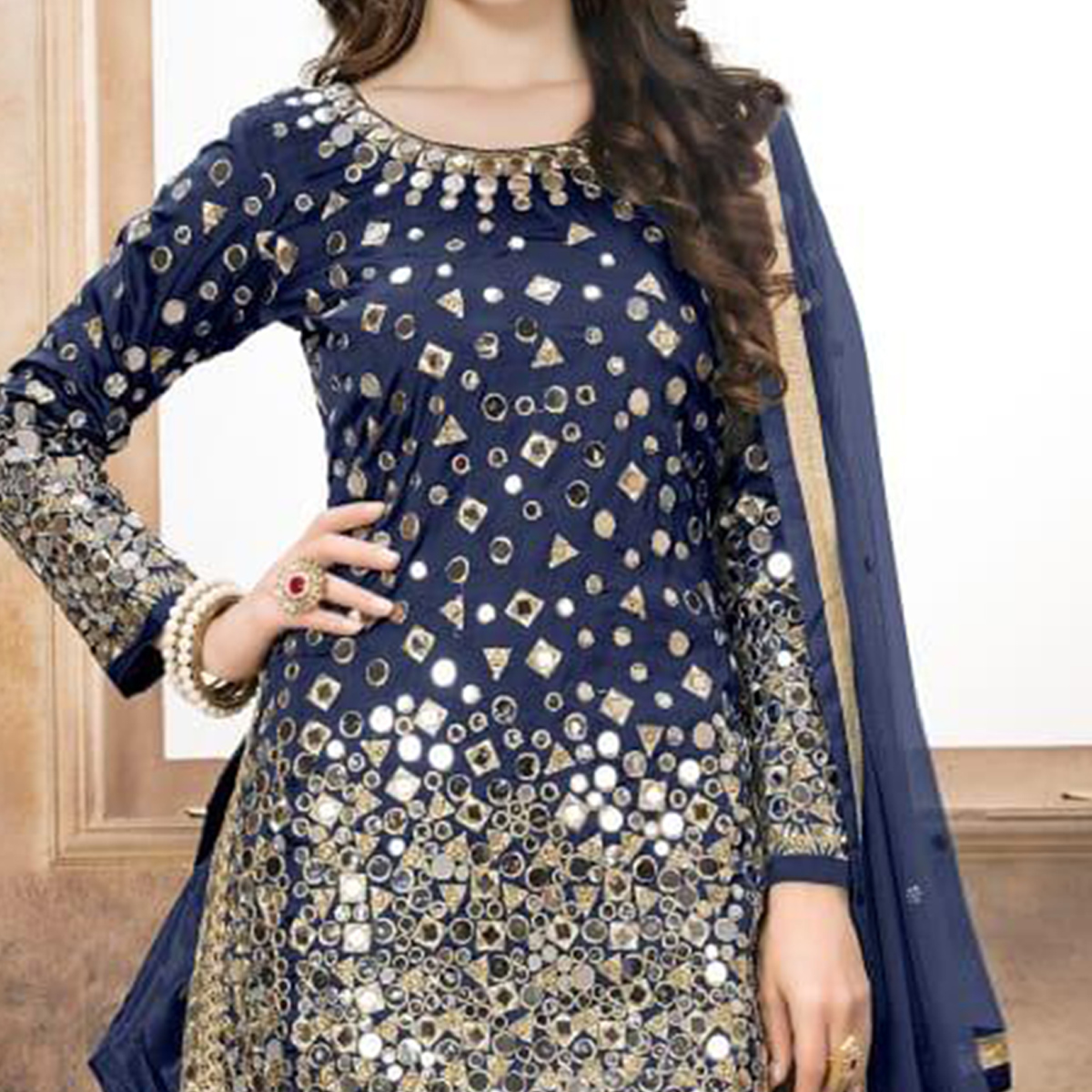 Adorning Navy Blue Colored Partywear Embroidered Tapeta Silk Patiala Suit